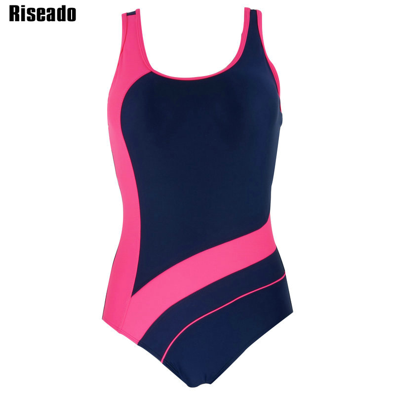 Riseado 2017 One Piece Swimsuit Swimwear Women Sports Backless Bodysuits Women's Swimsuits Splice Bathing Suits