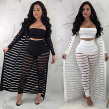 MUXU black white sexy transparent cropped 3 piece set women clothes top and pants plus size mesh clothing