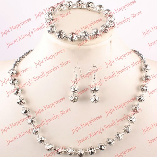 one set Handmade Silvery Crystal Glass Beads Jewelry Set Necklace,Earring and Bracelet 277