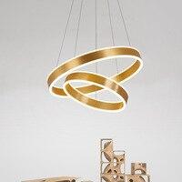 Новые 40 60 см 2 кругах современной светодиодный подвесной светильник акрил кольцо подвесной светильник для ресторана Гостиная светильников