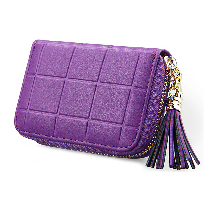 RFID Genuine Leather Women Card Holder Bag With Tassel Cowhide Business Card Case Coin Purse Credit Card Holder Wallet Organizer