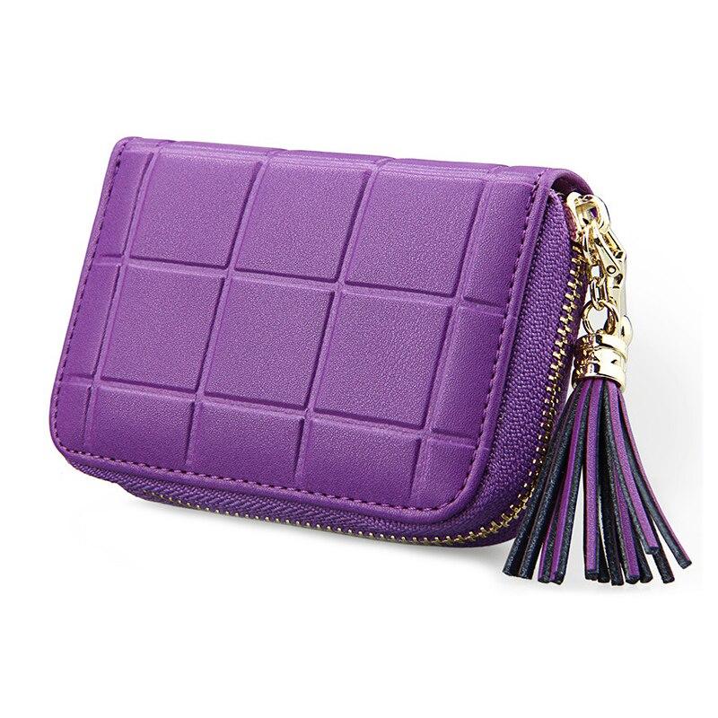 RFID Genuine Leather Women Card Holder Bag With Tassel Cowhide ...