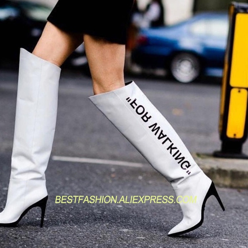 Rodilla Botas W Diseño Puntiagudas Delgados Altos Pista De Charol Tacones  Mujer Zapatos Altas 2018 Hot AwxRZIBXn a5c511396a0