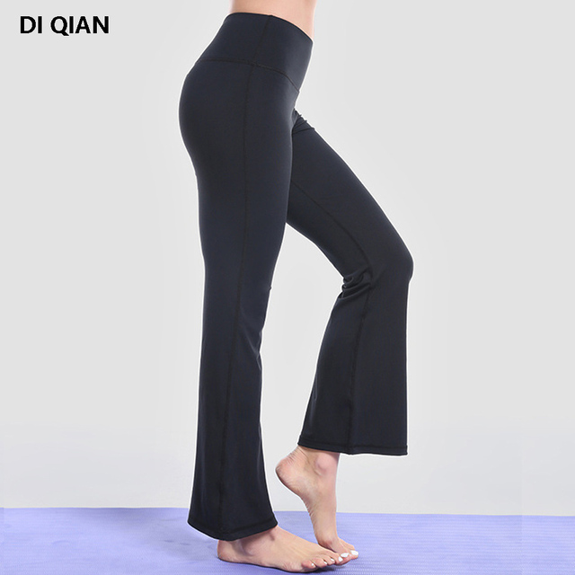 92297c20a233d2 DIQIAN Solid bell bottomed yoga pants for women high waist thick yoga  legging high quality wide leg active sports dance legging