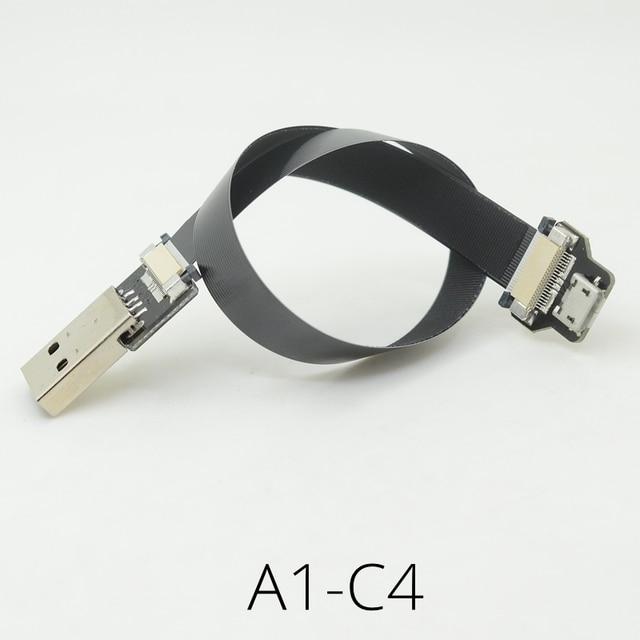 FFC USB 3.1 typu c kabel FPV płaski, cienki taśmy FPC kabel kąt Micro USB OTG na USB dla FPV bezszczotkowy kardana ręczna serwo
