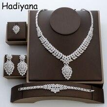 Hadiyana مجموعات مجوهرات موضة تألق قلادة القرط الدائري وسوار 4 قطعة مجموعة للنساء TZ8018 الزركون مجوهرات الزفاف مجموعات