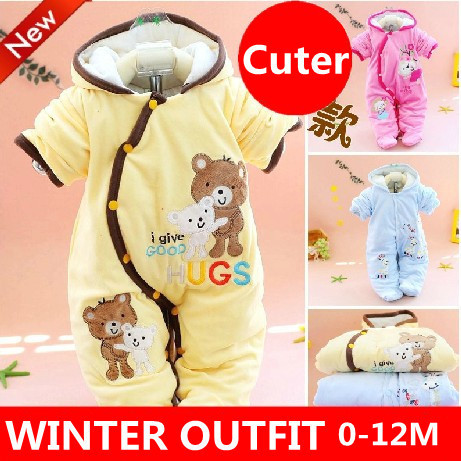 22ab9c6957be INFANT BABY GIRL BOY WINTER SNOWSUIT PRAM SUIT ALL IN ONE ROMPER ...