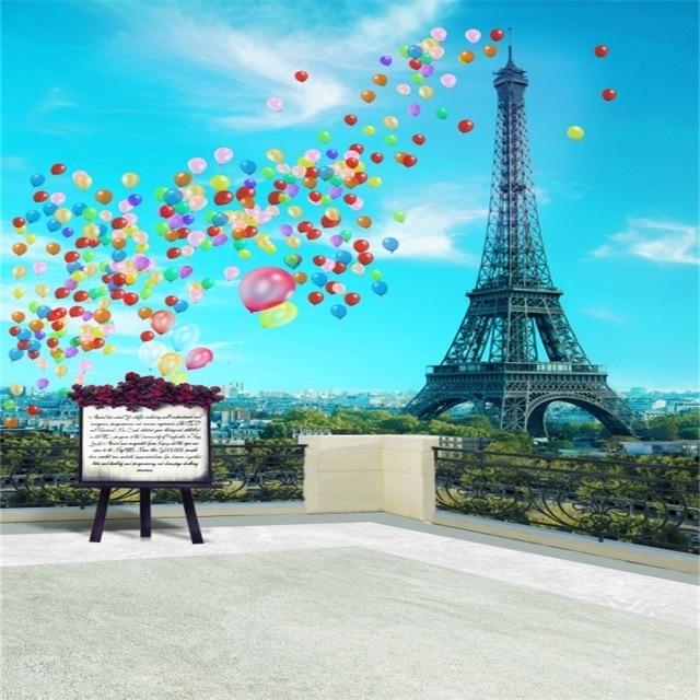 f9894cdb4d Laeacco Eiffel Tower Paris Balloons Balcony Scenery Baby Photography  Backgrounds Custom Photographic Backdrops For Photo Studio