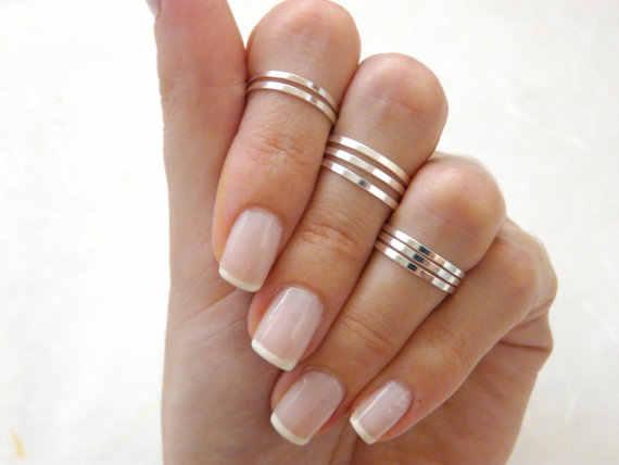925 เงินสเตอร์ลิงเหนือ knuckle สูง 925 Stacking Band knuckle knuckle เงินแหวนแฟชั่นแหวนกลาง, dainty แหวน