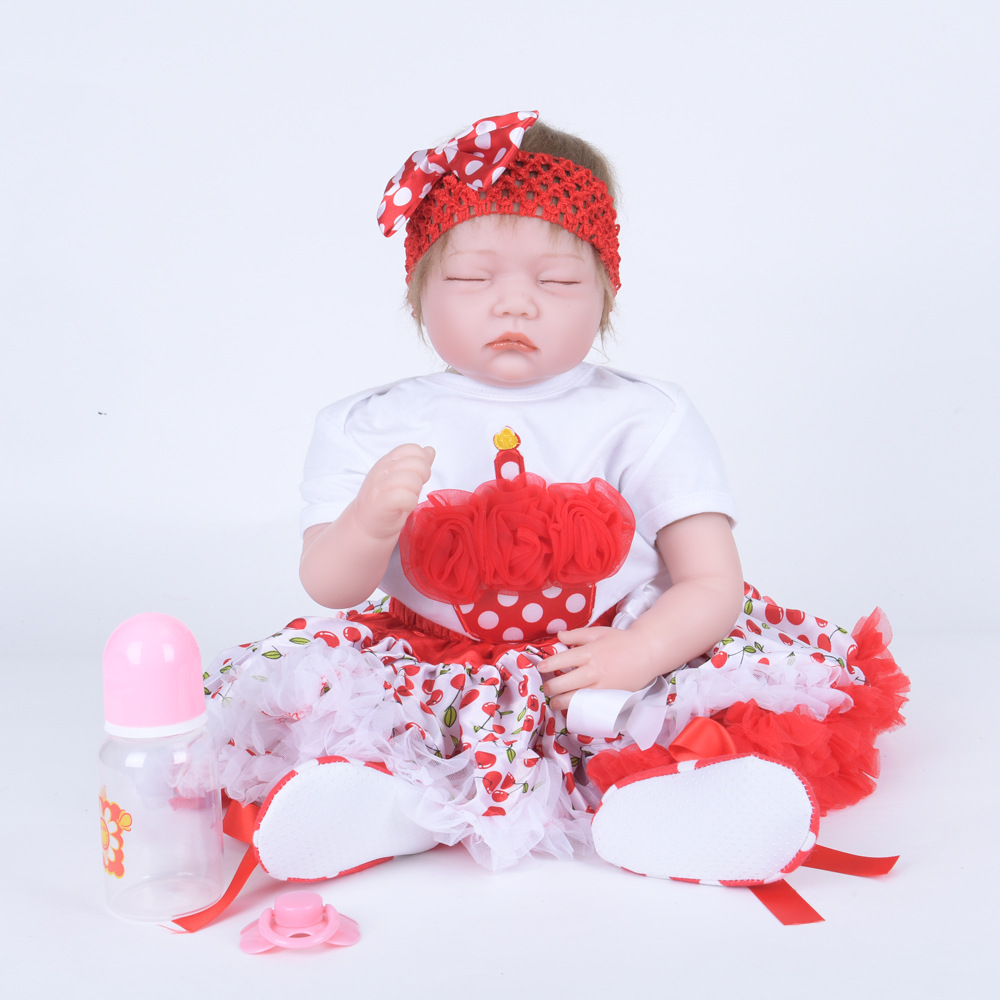 55cm Lifelike Closed Eyes Reborn Girl Doll Soft Silicone Sleeping Newborn Baby with Cloth Body Toy for Kids Birthday Xmas Gift