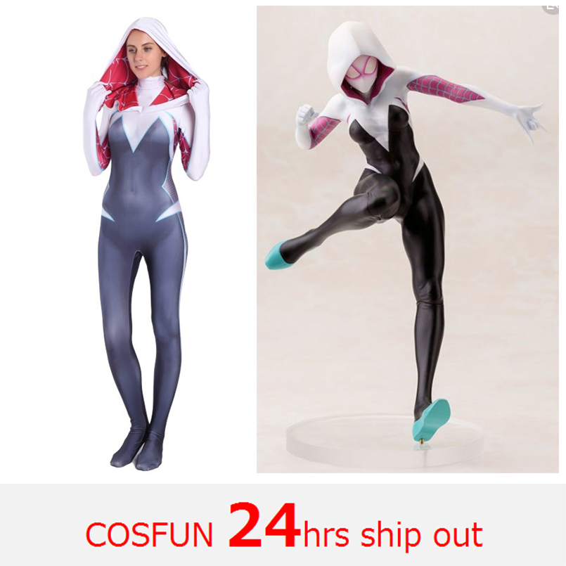 Women Spider-Gwen Cosplay Costumes Spider-Gwen Hoodies with Headgear Costumes Suitable for Halloween 24 Hrs Shipped Out