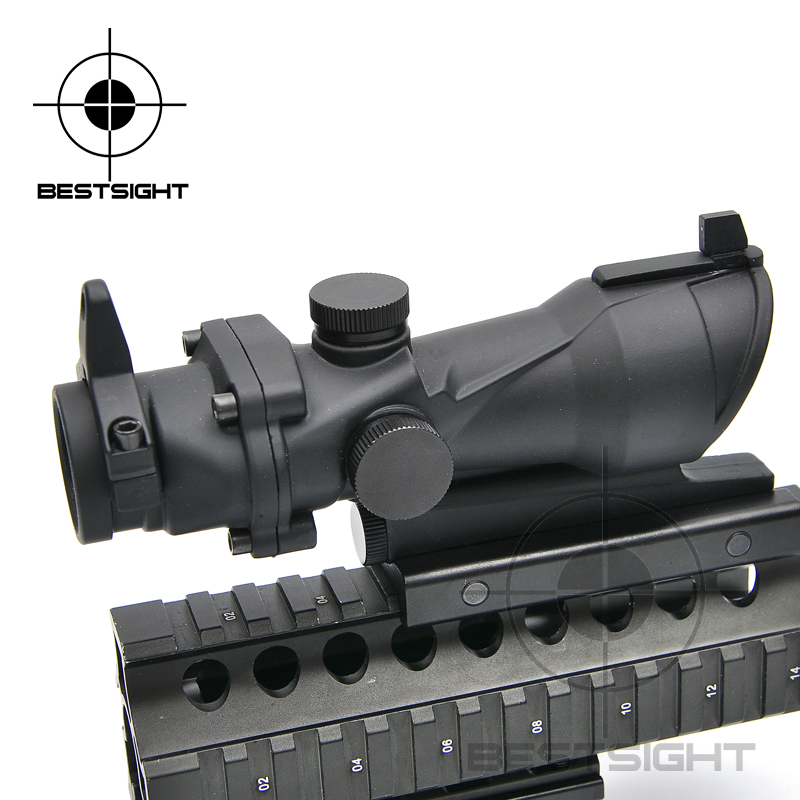Tactical Airsoft Acog Scopes 1x32 Red Green Dot Adjustable Illuminated Laser Sight Rifle Scope