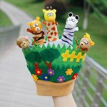 Crianças animais dos desenhos animados fantoches de mão fantoches de dedo para crianças bebê animais luvas bonecas brinquedos histórias de dormir fantoche família jogo