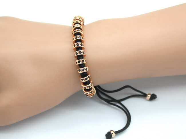 New Fashion Brand Macrame Bracelets, Rose Gold Micro Pave Black CZ Stoppers Beads Strand Macrame Bracelet For Men Jewelry 7