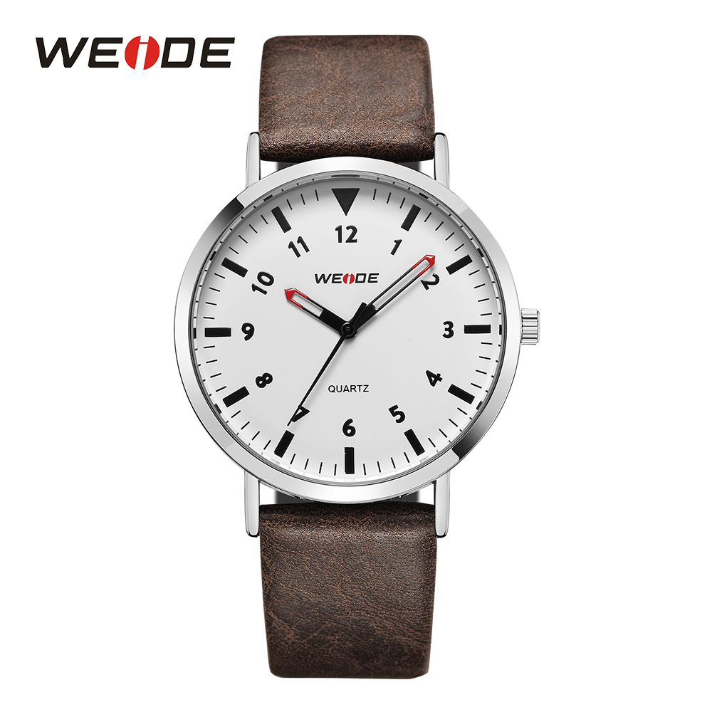 все цены на WEIDE Male Clocks Quartz Movement Analog Mens Sport Watches Hardlex Brown Strap Buckle Outdoor Military White Dial Wrist Watches