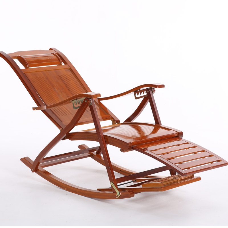 Folding Rocking Chair Armchair W/Footrest&Massage Mahogany Finish Foldable Rocker Outdoor Patio Furniture Bamboo Chair Recliner ...
