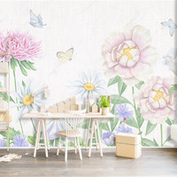 Nordic Flowers Wallpapers for Walls 3D Wall Murals Photo Wallpapers Hand Painting Leaf Butterfly Living Room Bedroom Home Decor