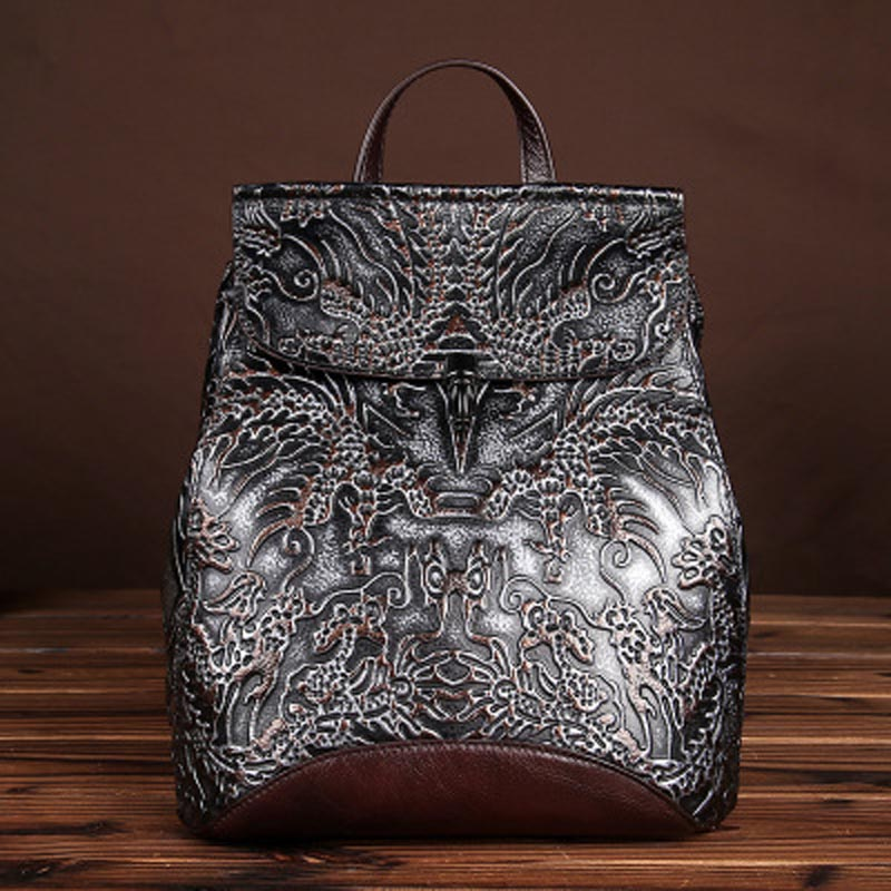 YISHEN Vintage Embossed Women Backpack Genuine Cow Leather Women Travel Bags Fashion Retro Style School Bags For Girls LS8835