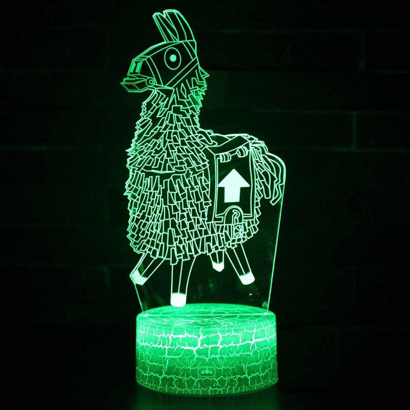 Niños noche sueño luces LED lámpara de proyección quincena batalla Royale llama acrílico Alpaca figura de acción Juguetes