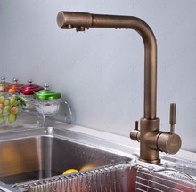 2017 новое прибытие высокого качества латунь материал 360 градусов бронзовый закончил кухонный кран раковина кран с очиститель воды