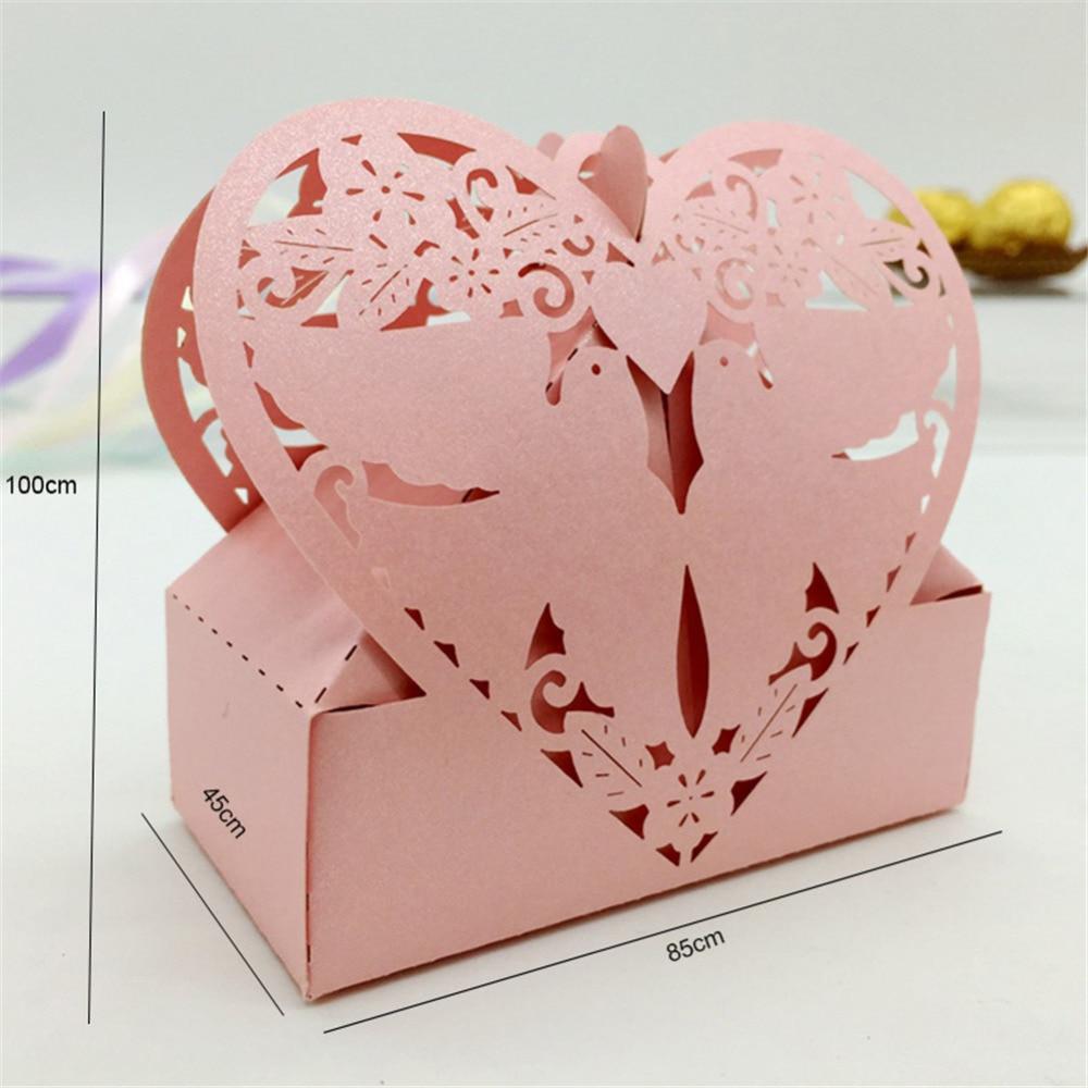 50Pc/lot Love Heart Bird Gift Cardboard Box Laser Cut Hollow Gifts ...