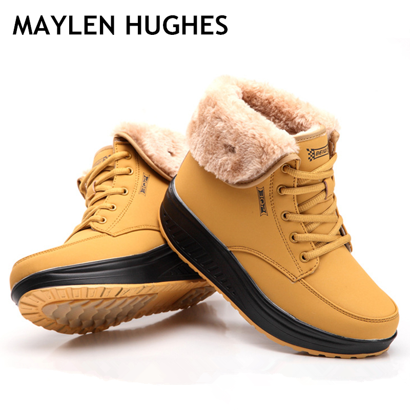 2018 New Fashion Women Female Boots Winter Women Warm Snow Cotton-paddeVelvet Shoes Fur Ankle Boots For Women Lace Up Heel boots women winter warm snow boots cotton shoes hidden wedges heel increased ankle snowshoes lt88