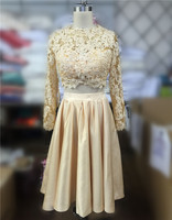 Two Piece 2016 New Summer Sexy Tea Length Long Sleeve Champagne Lace Women Special Party Occasion