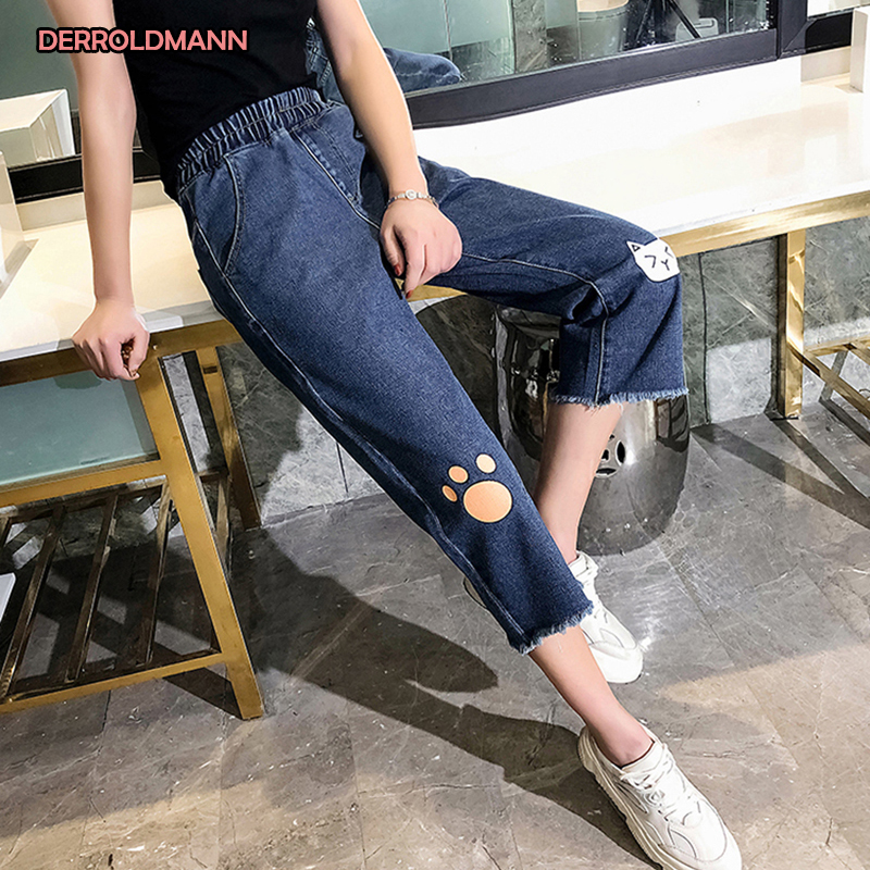 Womens Jeans Straight Pants Hairy Cuffs Korean Loose Denim Pictures Stretch Waistline With Zipper Woman Jeans
