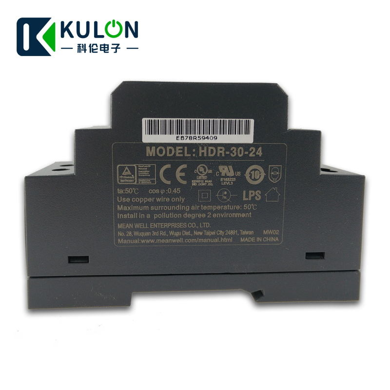 Original MEAN WELL HDR 30 24 24V 36W 1.5A meanwell step shape DIN Rail Power Supply mini slim size power source 24V