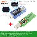 ATORCH USB probador + carga DC voltímetro Digital amperimetro cargador de banco de potencia indicador de voltaje de coche medidor de corriente doctor detector