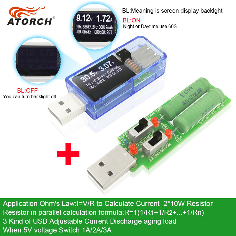 ATORCH USB tester + load DC Digital voltmeter amperimetro power bank charger indicator car voltage current meter doctor detector new 3 in 1 digital led car voltmeter thermometer auto car usb charger 12v 24v temperature meter voltmeter