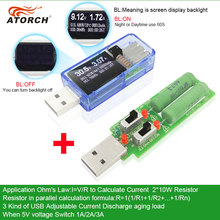 ATORCH tester USB + carregador banco do poder de carga DC voltímetro Digital amperímetro indicador medidor de corrente tensão carro médico detector