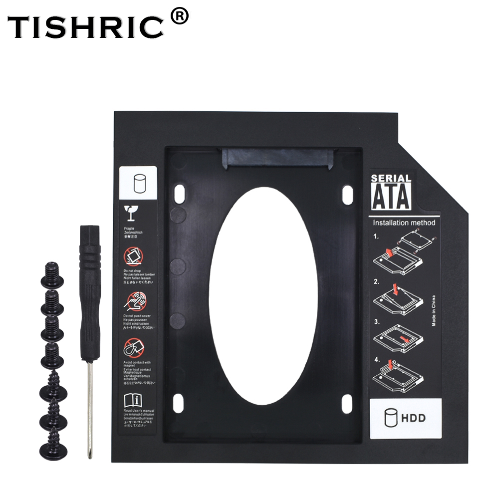 TISHRIC Universal Optibay SATA 3.0 2nd HDD Caddy 12.7mm for 2.5″2TB SSD HD Hard Disk Case Enclosure for Notebook Adapter dvd hdd