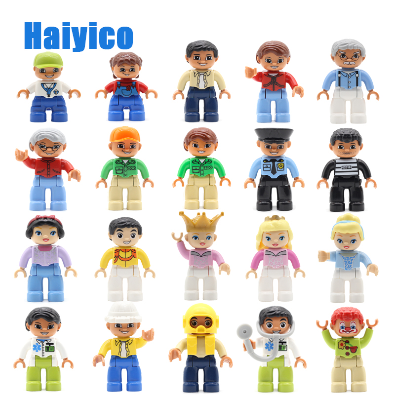 Family Figures Policemen Classic Big Building Blocks Compatible With Duplo Education Baby Toys Assemble Original Bricks Gift
