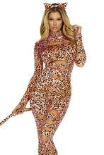 Trendy Ladies Sexy Cat Costume LC8805 Top Quality Leopard Print Jumpsuit Fancy X-mas Cosplay Uniform Sexy Lingerie 2 pcs Sets