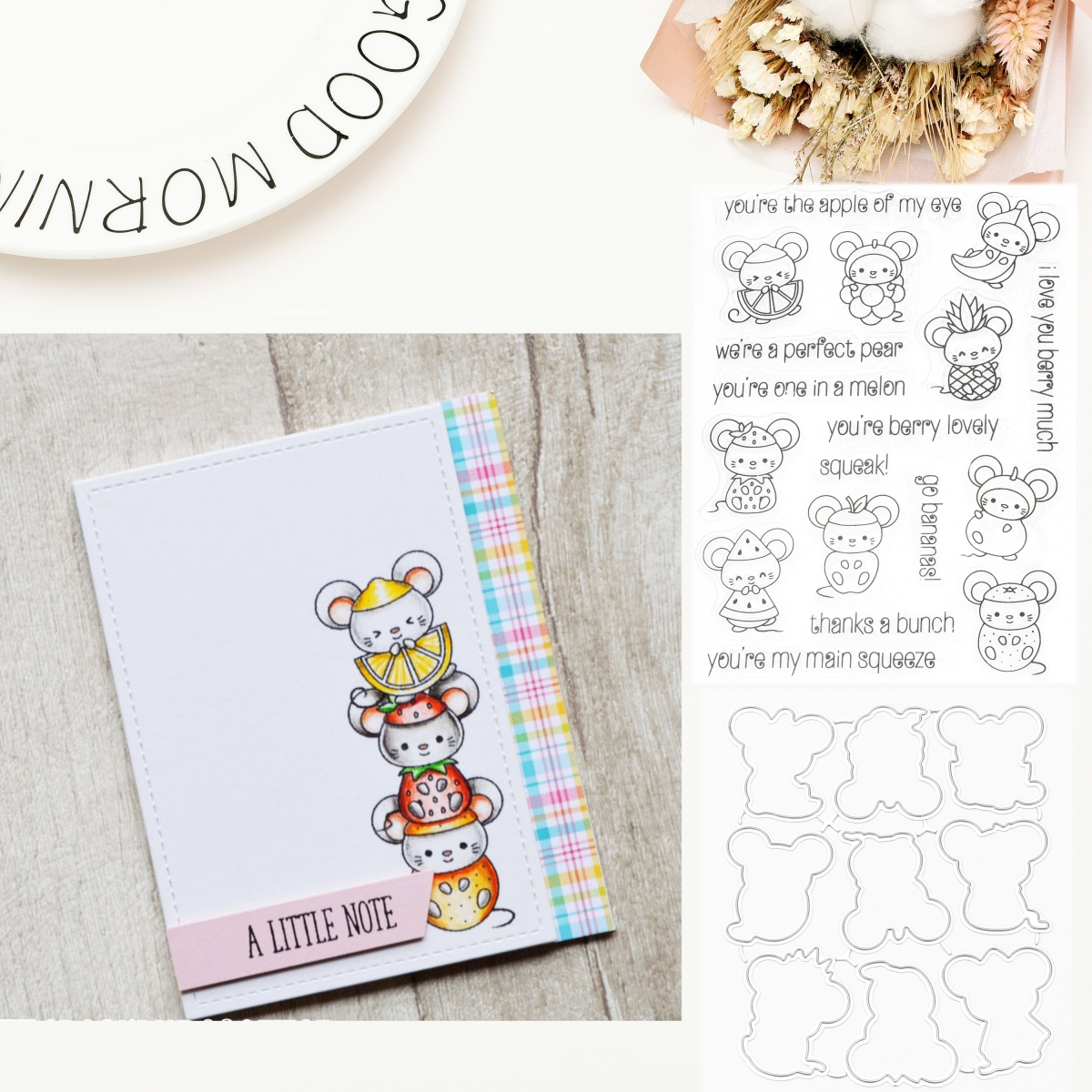 Fruit Mouse Transparent Clear Silicone Stamp and Metal Cutting Dies Embossing Stencil DIY Scrapbooking Decorative Card Making