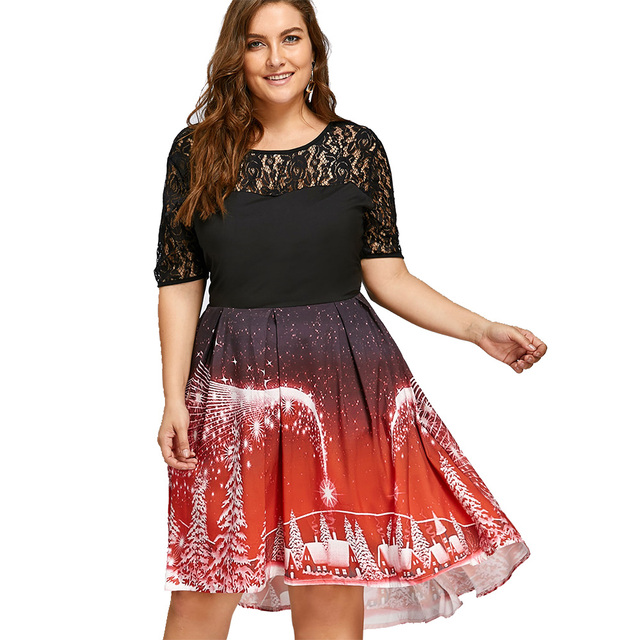 Gamiss Christmas Party Lace Panel Dress Plus Size XL-5XL Rockabily Vintage  Princess Dress Women - Gamiss Christmas Party Lace Panel Dress Plus Size XL 5XL Rockabily