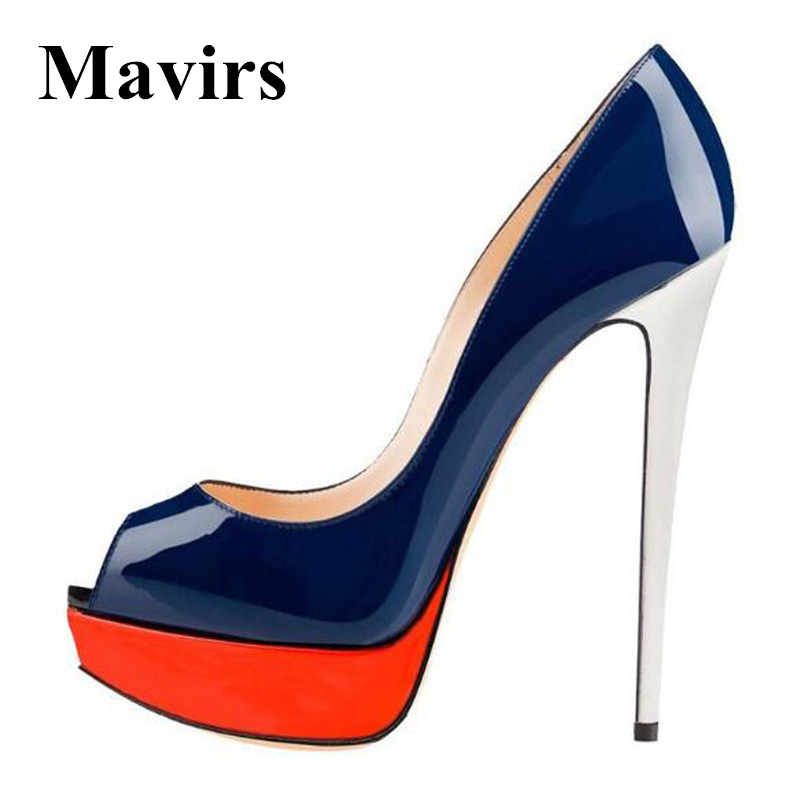 MAVIRS 2018 Sexy Peep Toe Platform High Heels Women Pumps Mixed Color Wedding Bride Party Stiletto Shoes US Size 5-15 apoepo brand 2017 zapatos mujer black and red shoes women peep toe pumps sexy high heels shoes women s platform pumps size 43