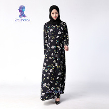 042 New Arrival Fashion Flower Pattern Long Dresses For Women Casual Turkish Islamic Clothes Muslim Dress