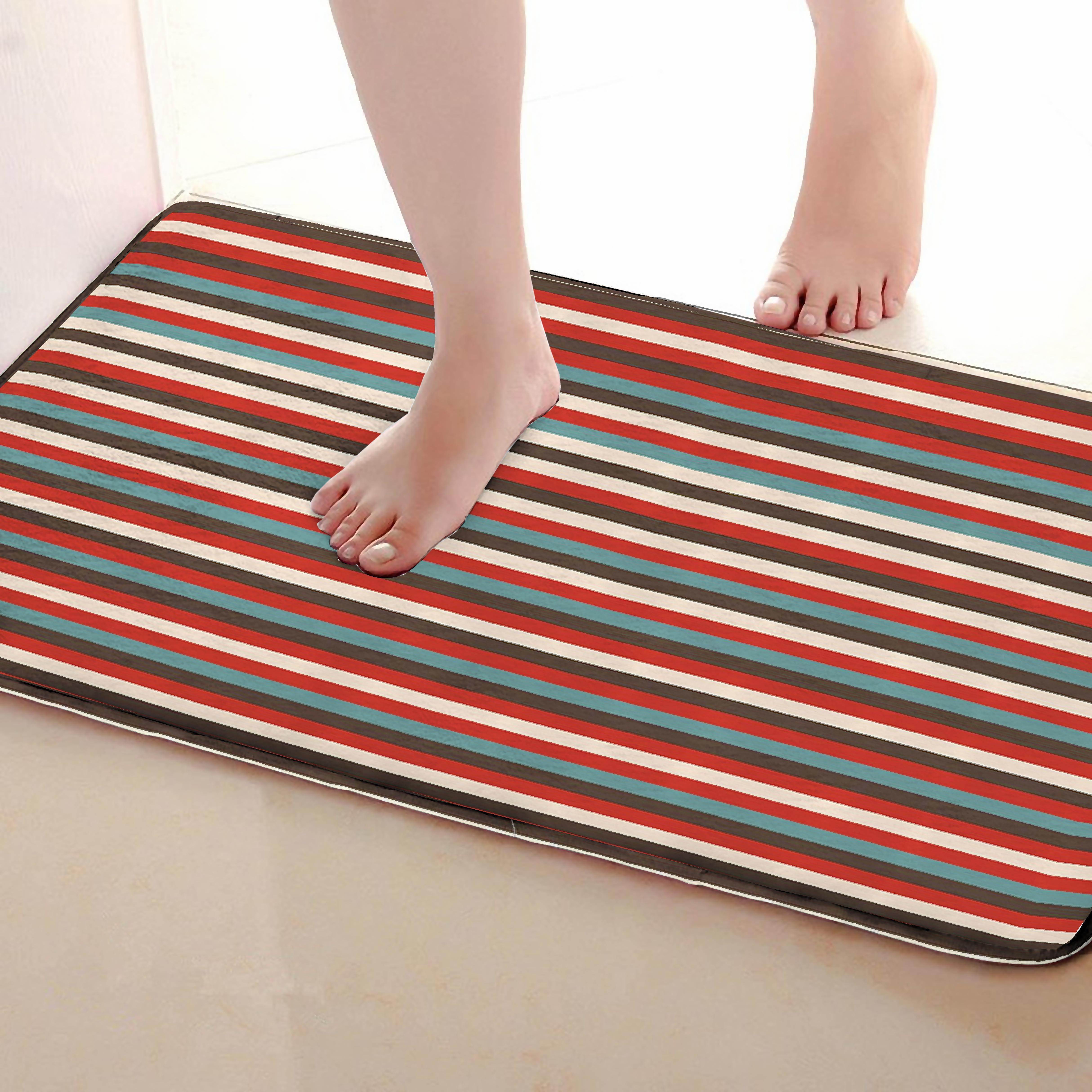 Stripe Style Bathroom Mat,Funny Anti Skid Bath Mat,Shower Curtains Accessories,Matching Your Shower Curtain