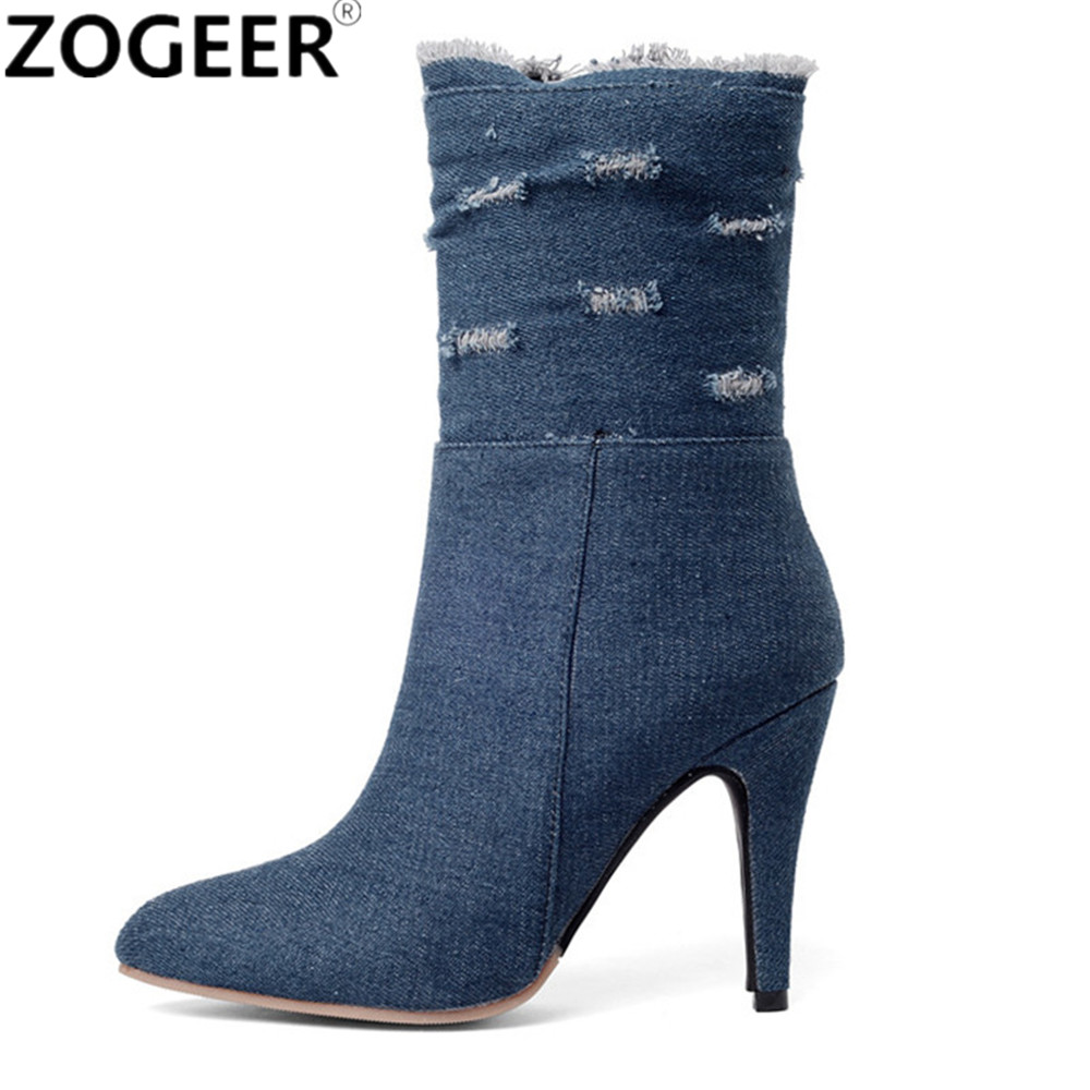 Plus Size 48 Blue Denim Women Ankle Boots 2018 High Heels Women Shoes Cut-outs Jeans Boot Pointed Toe Ladies Shoes tqqt man jeans heavyweight plus size jeans plaid low waist stretch jeans zipper fly dark wash straight fit boot cut jean 5p0603