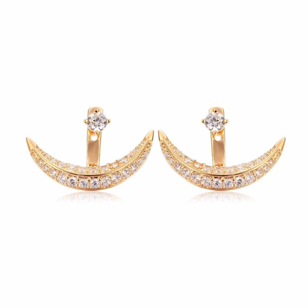 Windshow Half Moon Full Aaa Cz Zircon Ear Jacket Front & Back Stud Earrings  For Women