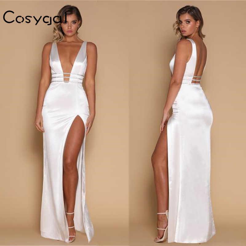 COSYGAL Autumn Sexy Spaghetti Strap Backless Ankle Length Dress Women 2017  New Side Split Deep V 68aa0cf01b84