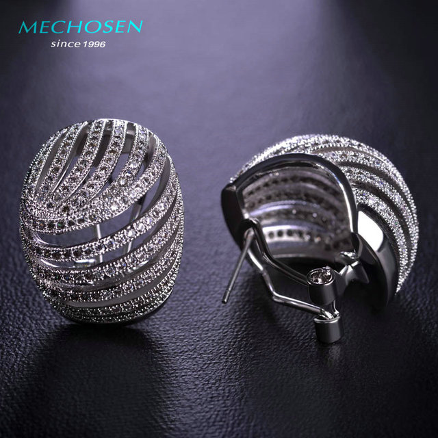 MECHOSEN Multilayer Zirconia Round Stud Earrings for Women Shiny Stone Rhodium Plated Copper Brincos Luxury Wedding Party Bijoux