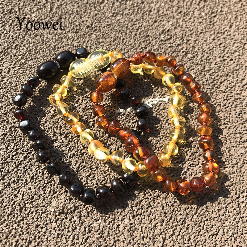 Yoowei 6 Colors Natural Amber Bracelet/Anklet Chic Women Amber Bracelet Baltic 4mm Small Beads Baby Teething Jewelry Wholesaler