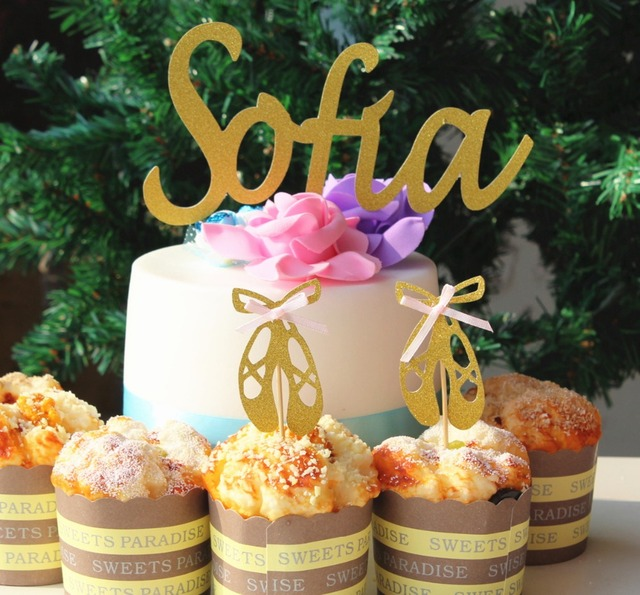 Personalizada Nombre De La Torta 12 Unids Glitter Oro Ballet
