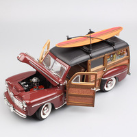 1/18 Scale hot big antique boy 1948 Ford Woody woodie classic old diecast metal model SURFBOARD cars toy styling for children