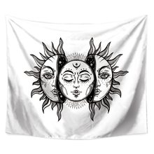 "Sun and Moon Psychedelic Tapestries Polyester Fabric Hippie Bohemian Print Home Decor Wall Hanging Tapestry 59"" x 51""(China)"