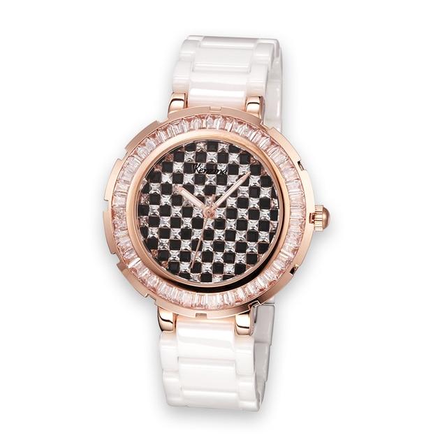 Full Crystal Lady Women's Ceramic Watch Japan Quartz Checkerboard Rhinestones Hours Fine Clock Girl's Luxury Birthday Gift