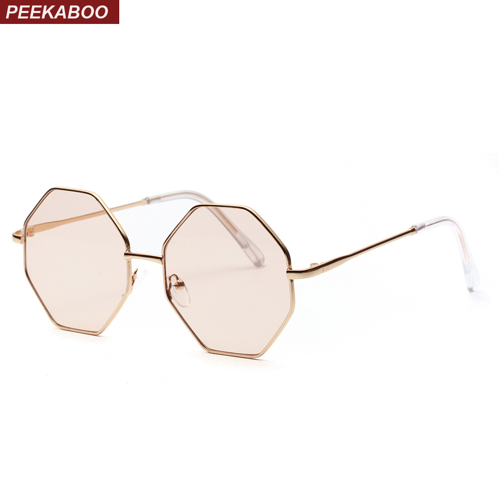 0fc27fc5afb13 Peekaboo big vintage polygon sunglasses female 2019 octagon tinted clear sun  glasses for women men metal frame uv400